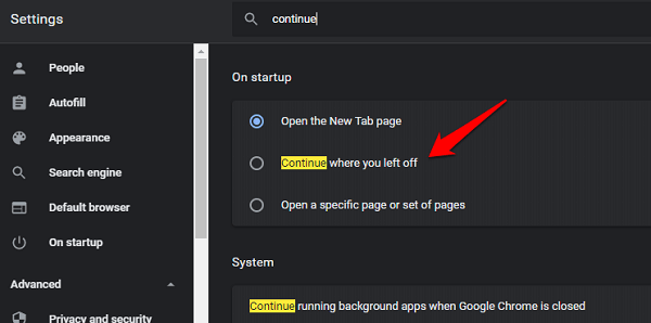 How to Fix Chrome's Continue Where You Left off Feature Not