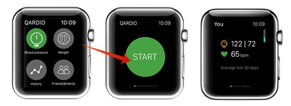 measure blood pressure with Apple Watch using Qardio Screenshots