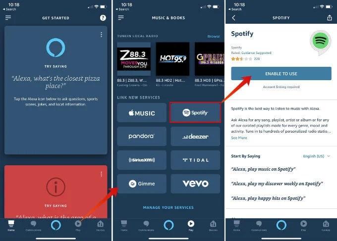 Enable Spotify Skill on Alexa App