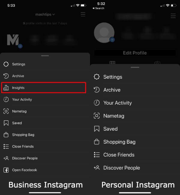 Personal VS Business Instagram