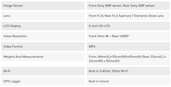 Viofo A129Pro DUO Dual Dash Camera Spec