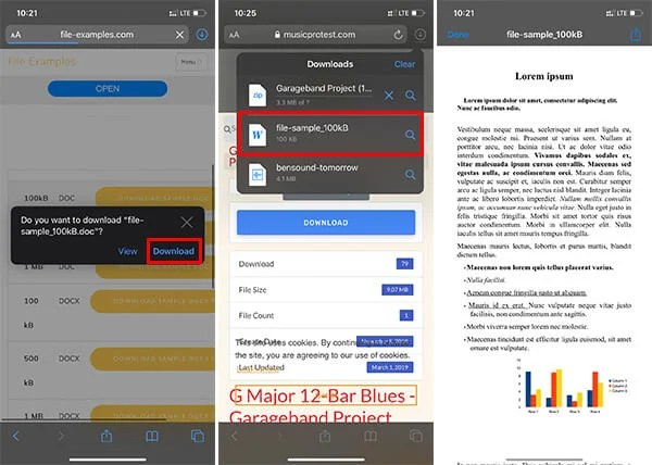 Documents Downloads on iPhone and iPad