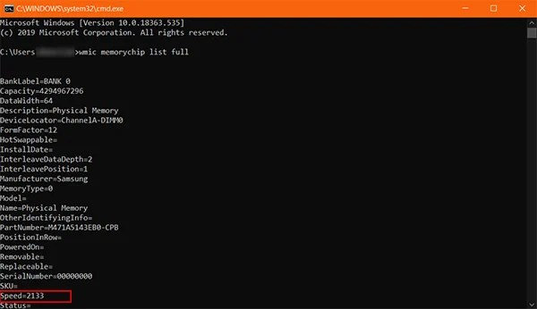 Find Speed and Type of Memory Using Command