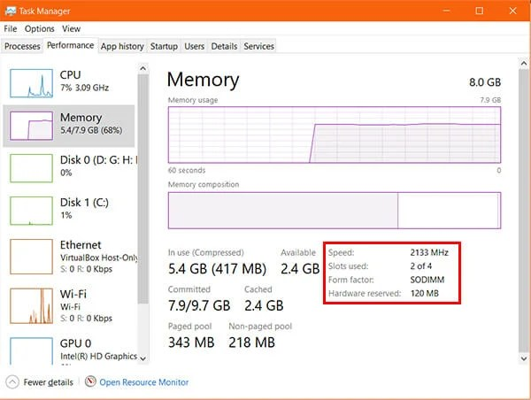 RAM Type and Speed from Task Manager