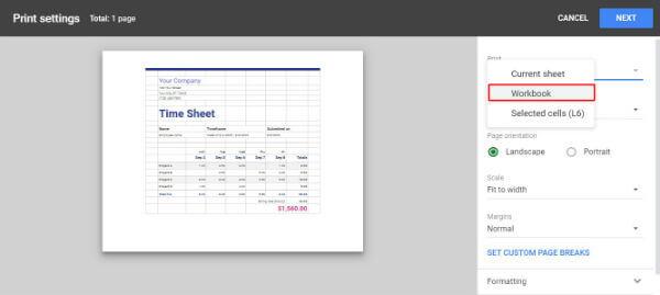 Google sheet print workbook