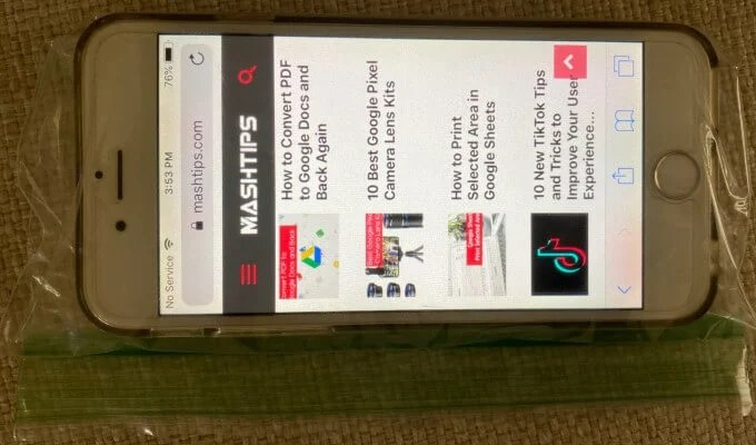 iPhone in Ziploc Cover