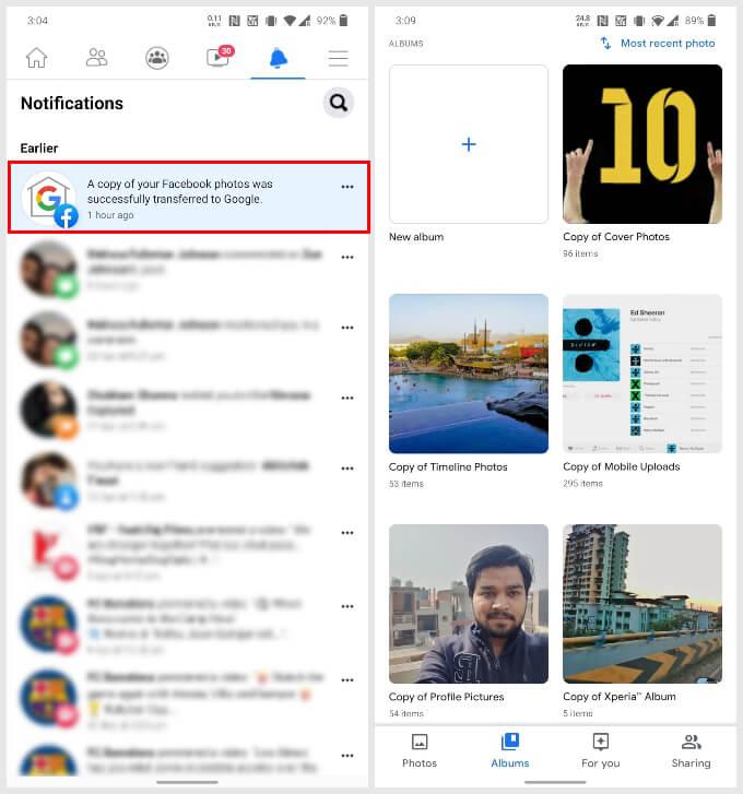 Facebook photos moved to Google Photos