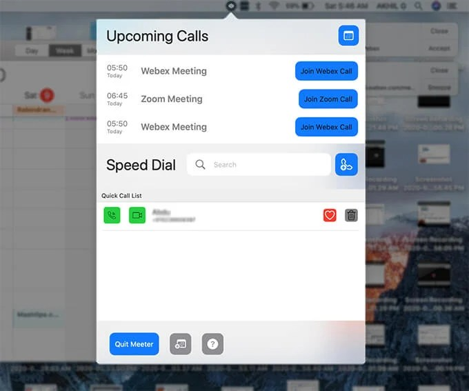Join virtual meeting from Meeter on Mac