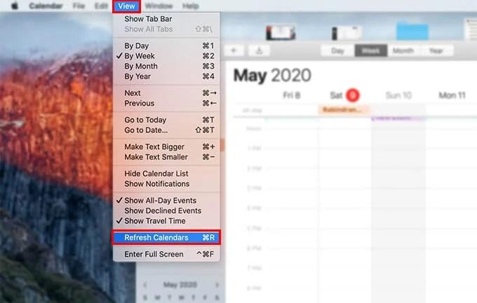 Refresh Calendars on Mac