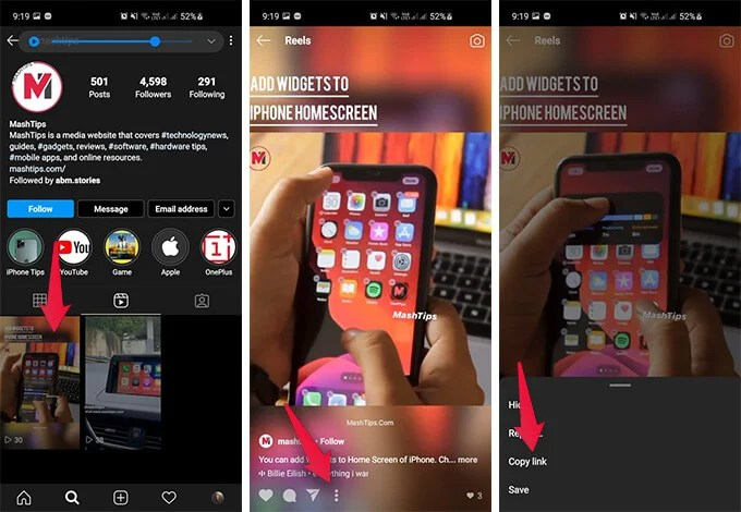 Copy Instagram Reel Video Link on Android