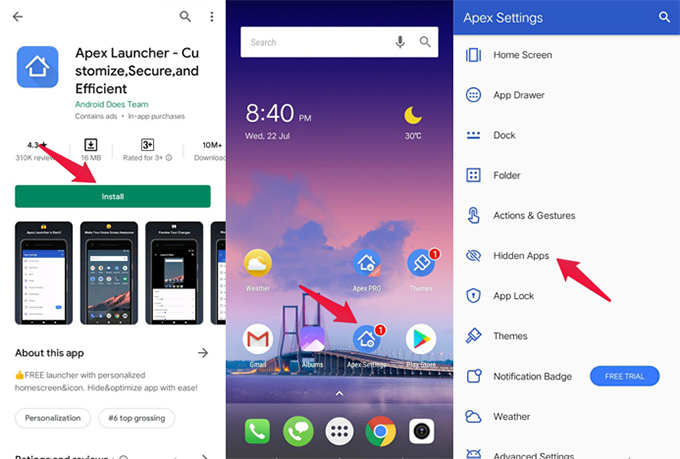 Hiding Apps Using Apex Launcher