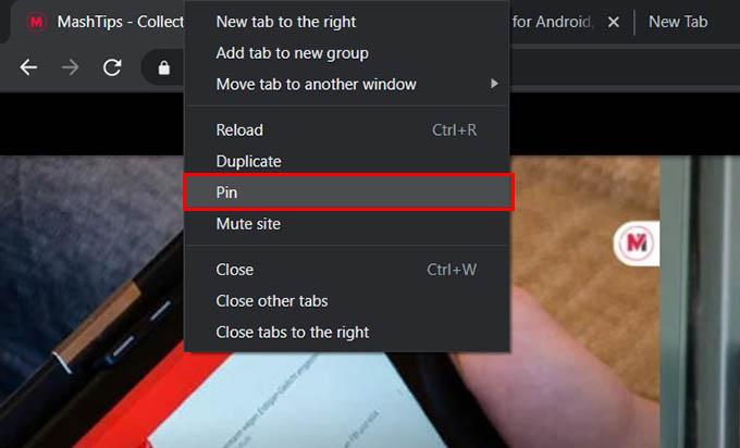 Pin Tabs in Google Chrome