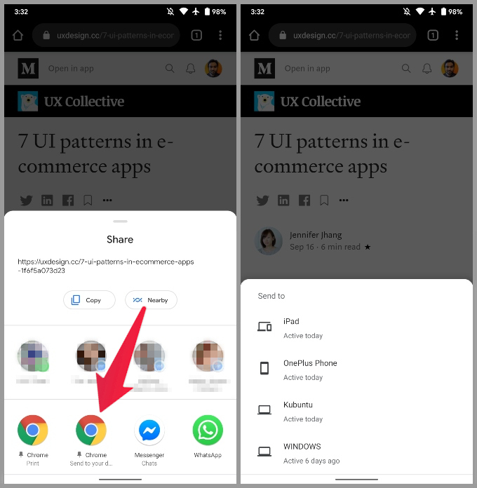 Send tabs from Phone to other devices in Chrome
