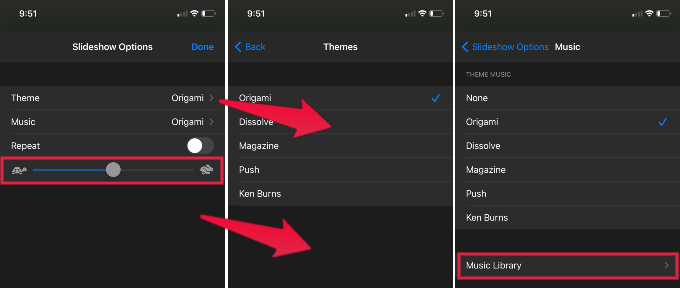 iPhone Slideshow Options
