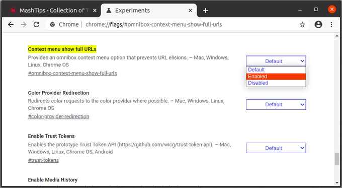 Enable Context menu full URL option in Chrome