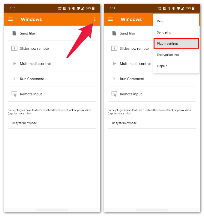 KDE Connect Android app settings