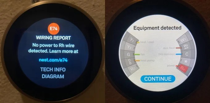 E74-No Power to RH Nest ThermoStat