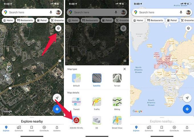 Google Maps COVID 19 Info
