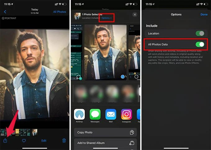 Share Portrait Photos on iPhone with Full Data