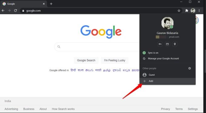 add button in google chrome to create profile