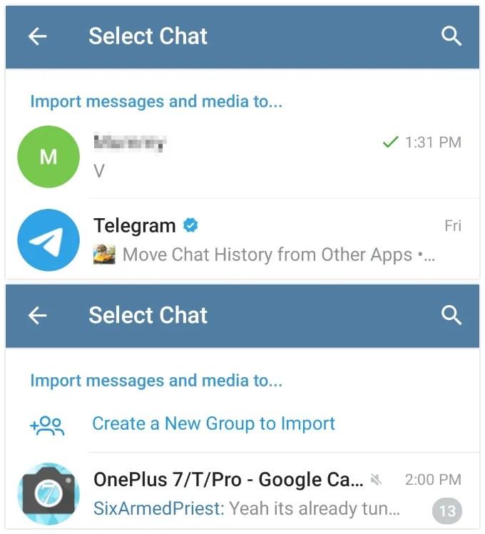 Select Telegram chat