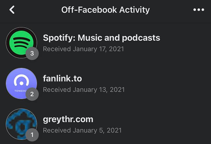 Off Facebook Activity Sharing Websites and Apps