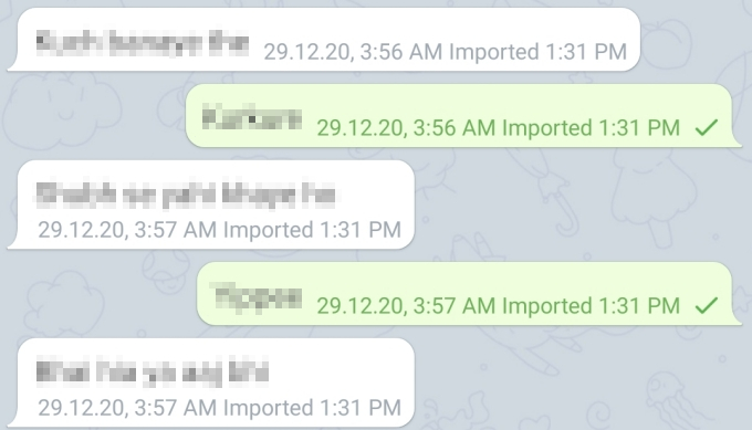 WhatsApp messages in Telegram
