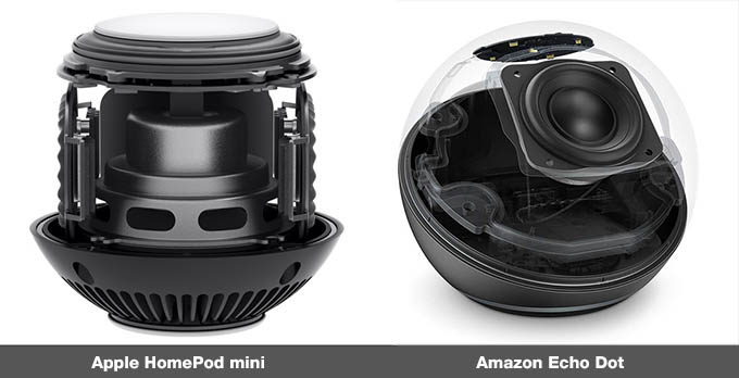 Internal Structure Amazon Echo Dot vs HomePod mini