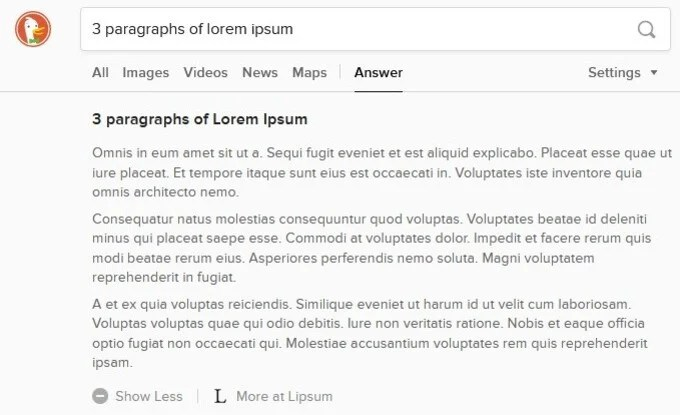Use DuckDuckGo As Lorem Ipsum Generator