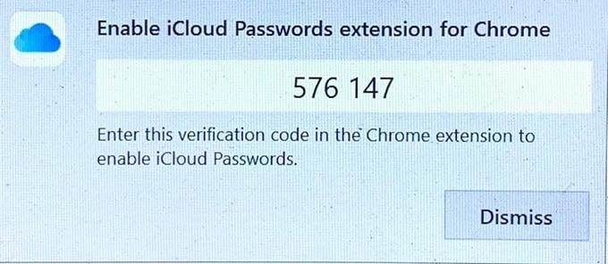 iCloud Passwords Extension Chrome Verification Code Windows