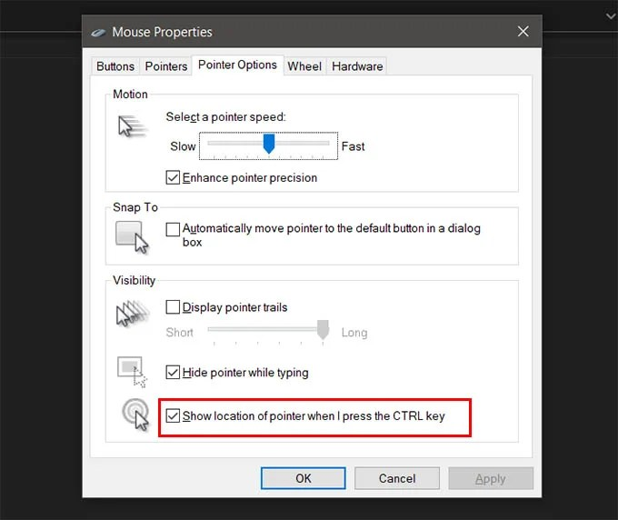 Find Mouse Pointer in Windows 10 When Pressed Ctrl Key