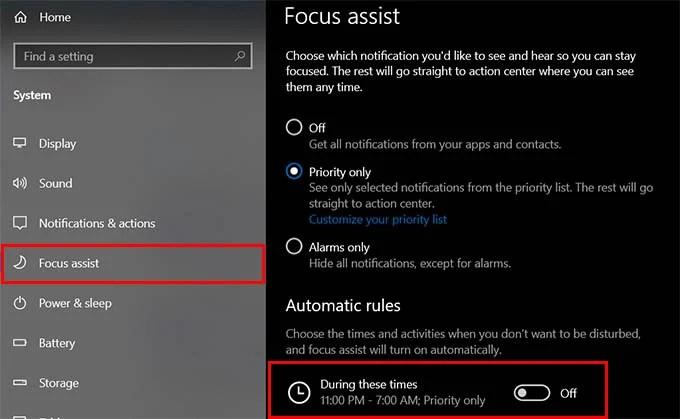 Schedule Focus Assist on Windows 10