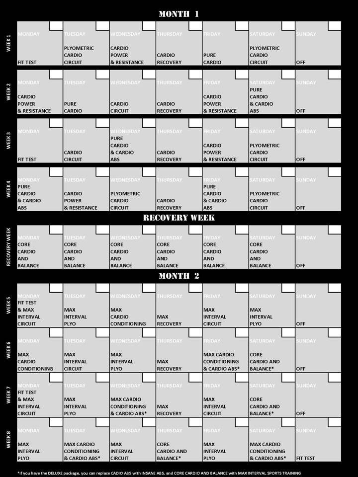 Insanity Calendar: 11 Insanity 60 Day Workout Calendar (Printable PDF)