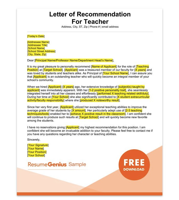Letter Of Recommendation For Teacher 15 Templates And