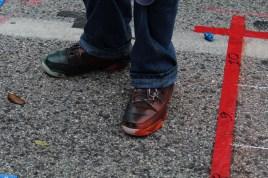 Paint-stained Jordan sneakers