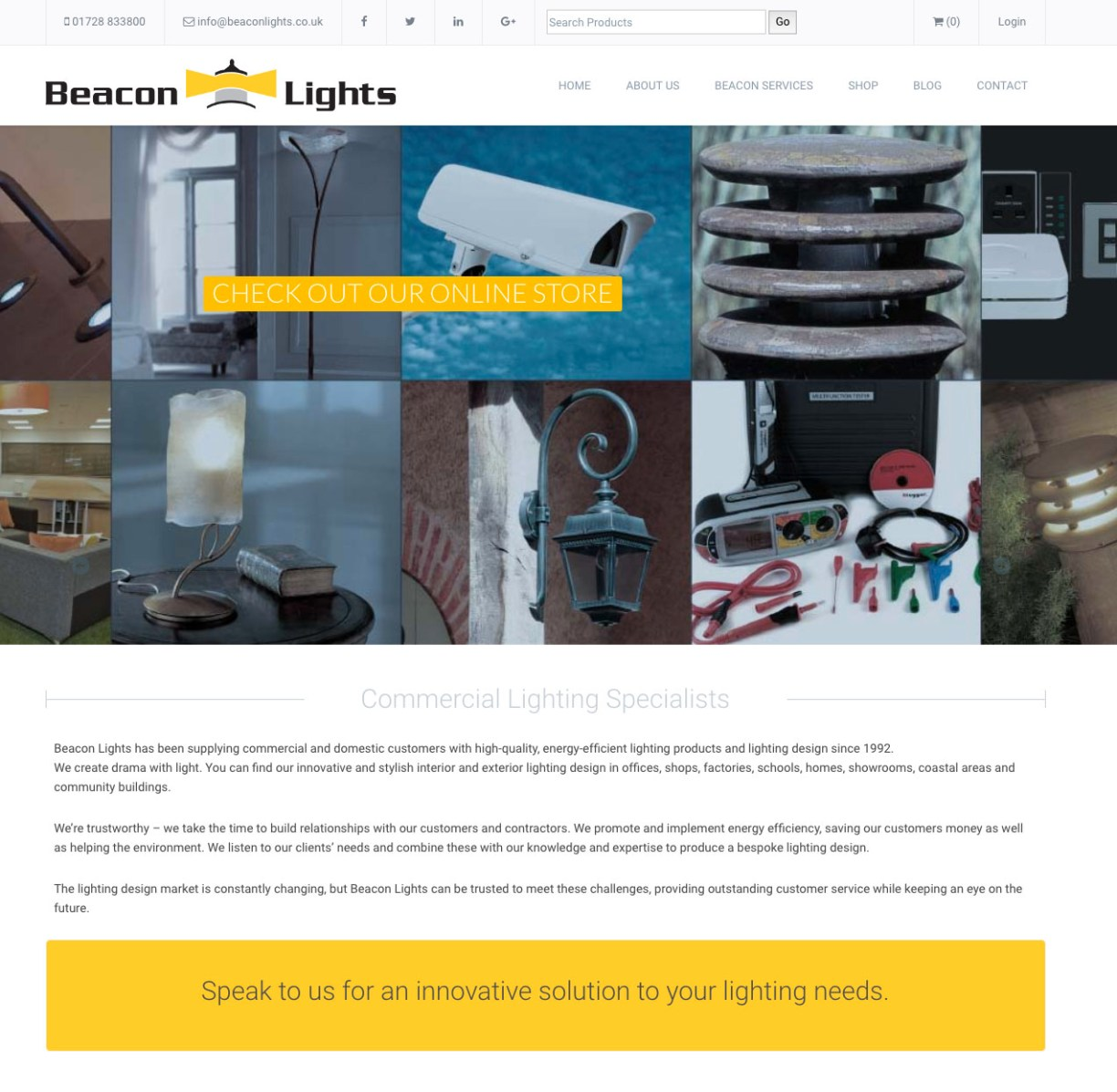 mashuni designed website for Beacon Lights