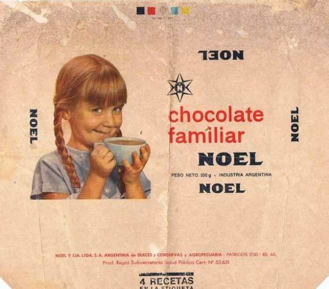 Etiqueta de chocolate familiar Noel