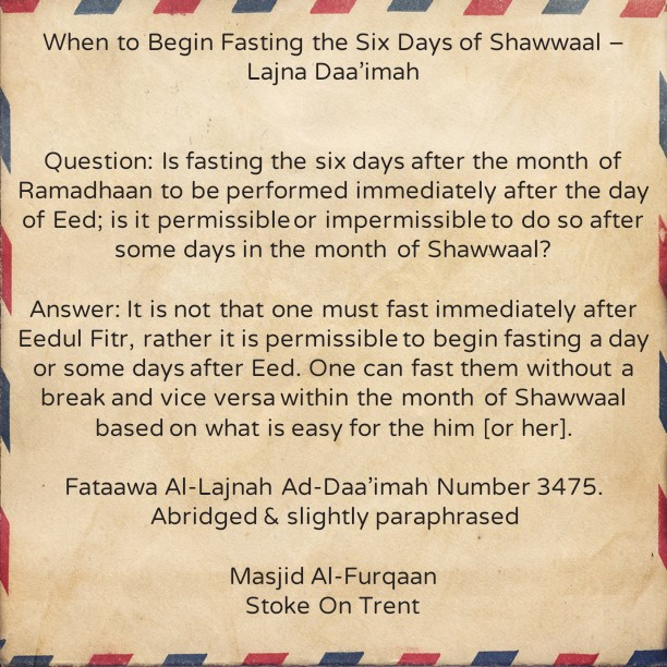 When to Begin Fasting The Six Days of Shawwaal?