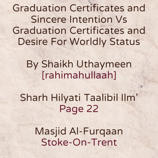 Certificates of Graduation and Sincere Intention Or Desire For Worldly Status?!
