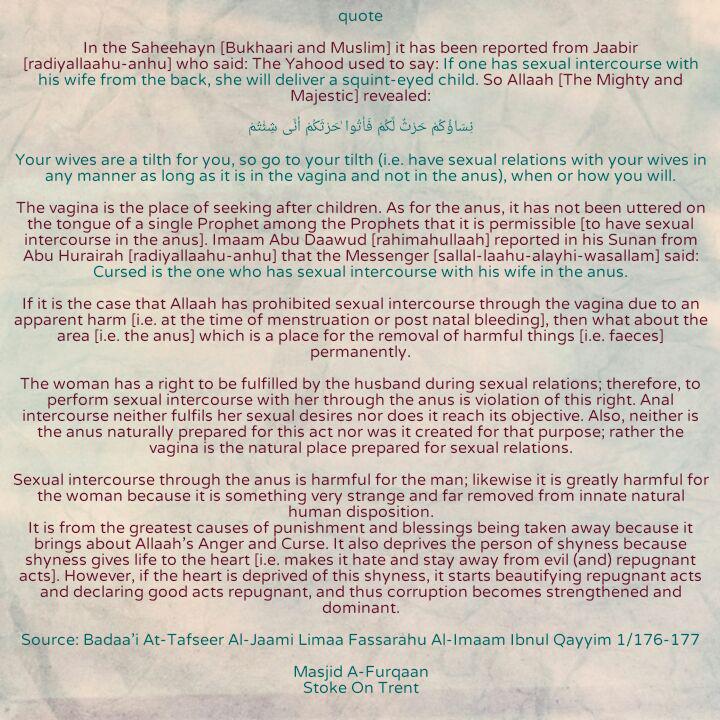 Was islam über Analsex sagt