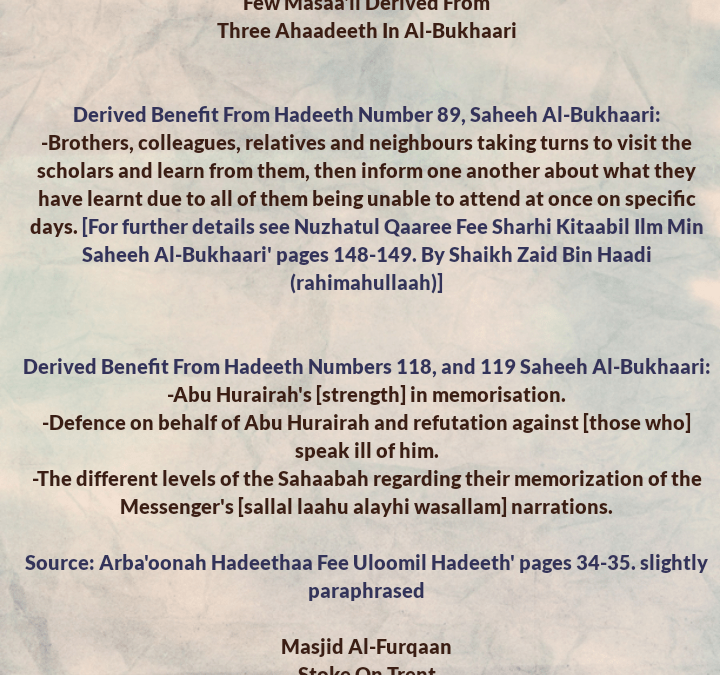 Few Masaa'il From Three Ahaadeeth Regarding: Taking Turns to Attend Gatherings of Knowledge, The Different Levels of The Sahaabah in Memorization And a Defence of Abu Abu Hurairah