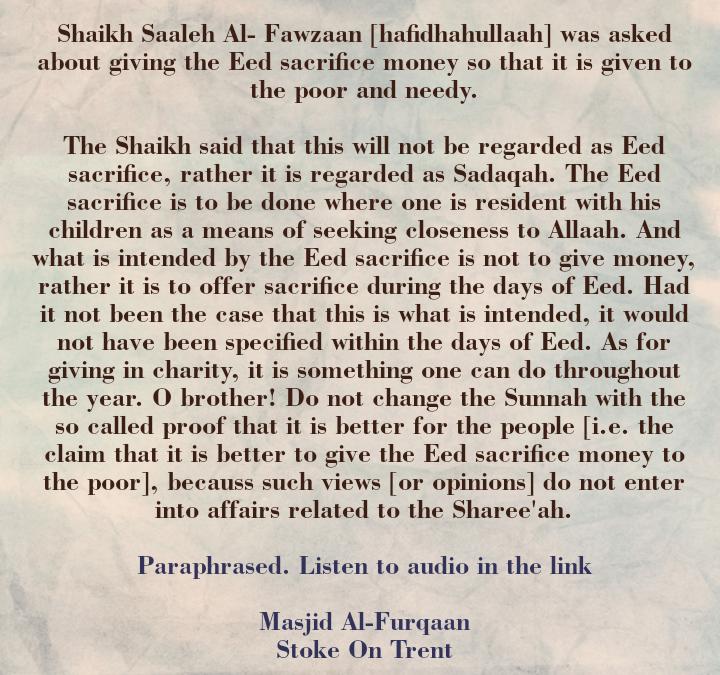 "[3] The Eed Sacrifice – [Shaikh Saaleh Al-Fawzaan Said: ""O brother! Do Not Change The Sunnah]"