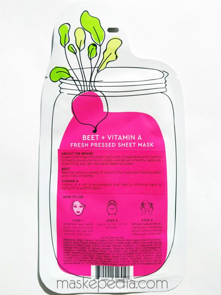 The Sweet Chef Beet + Vitamin A Fresh Pressed Sheet Mask