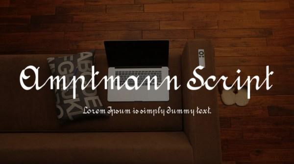 font tegak bersambung - Amptmann Script