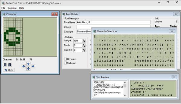 Raster Font Editor