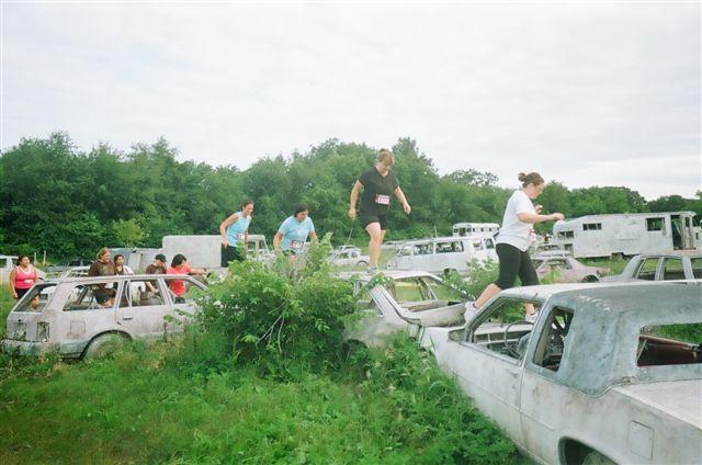 The junkyard cars.