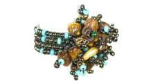 Guate!Guate Volcán turkos, brun ring MoM110-TBR, Guatemala, konsthantverk, ring, smycke, sten, pärlor