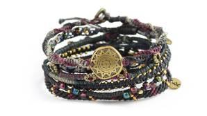 Wakami Earth Bracelet Night, armband Ii svart, blått, lila och mässing