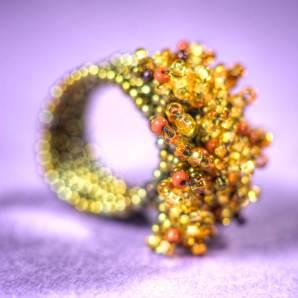 brun, Guate!Guate, Guatemala, guld, konsthantverk, Pyro, pärlor, ring, smycke, pärlring, MoM12-GUB