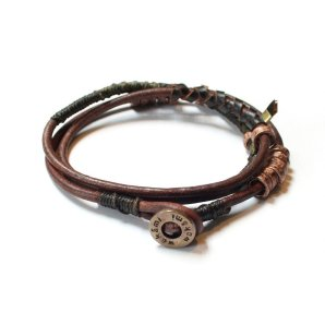 Wakami 4 Elements armband för män, Wrap Earth i läder